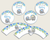 Elephant Blue Cupcake Toppers, Blue Gray Cupcake Wrappers, Toppers Wrappers Baby Shower Boy, Instant Download, Elephant Trunk Mammoth ebl01