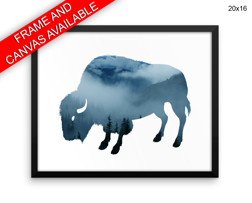 Buffalo Print, Beautiful Wall Art with Frame and Canvas options available Wildlife Decor