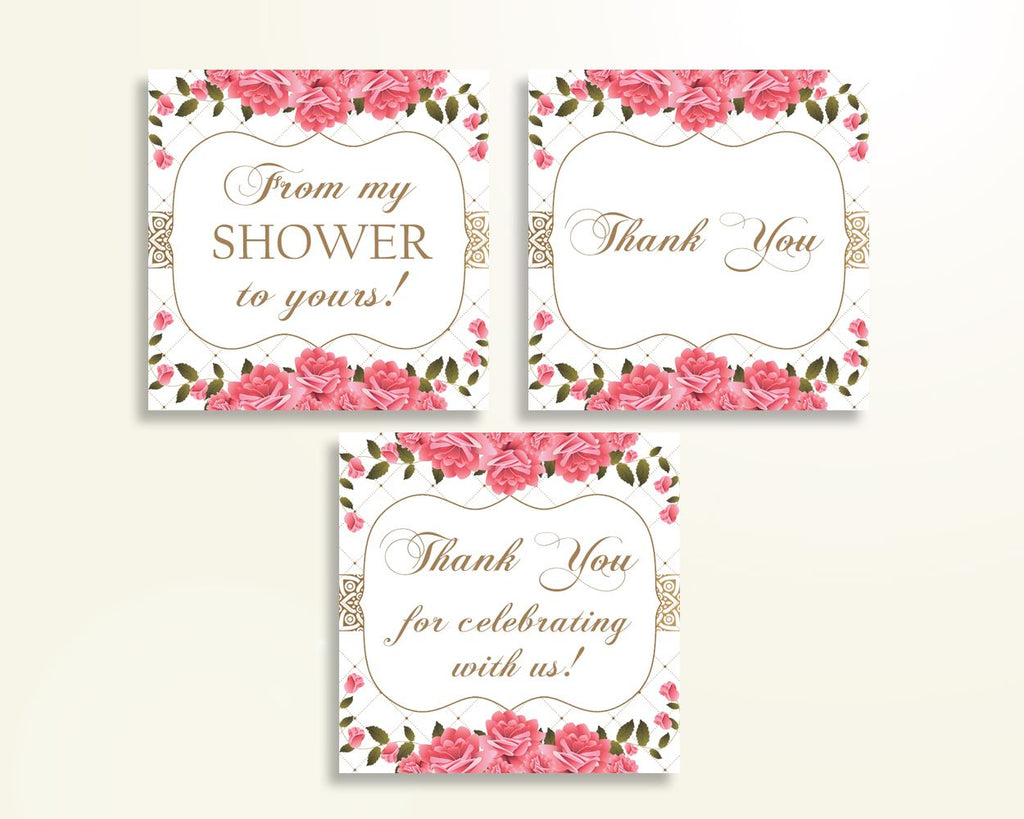 Thank You Tags Baby Shower Thank You Tags Roses Baby Shower Thank You Tags Baby Shower Roses Thank You Tags Pink White prints U3FPX - Digital Product