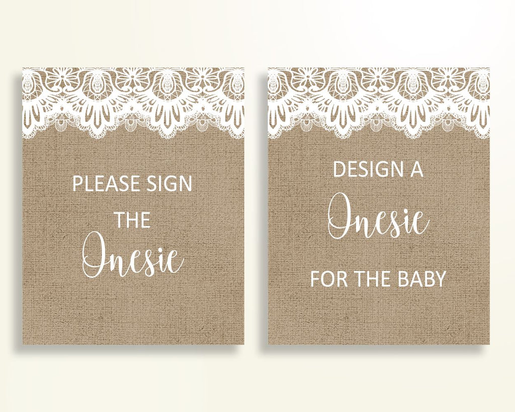 Sign The Onesie Baby Shower Design A Onesie Burlap Lace Baby Shower Sign The Onesie Baby Shower Burlap Lace Design A Onesie Brown W1A9S - Digital Product
