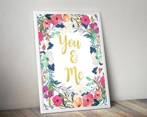 Wall Decor You And Me Printable You And Me Prints You And Me Sign You And Me  Printable Art You And Me marriage print typography poster - Digital Download