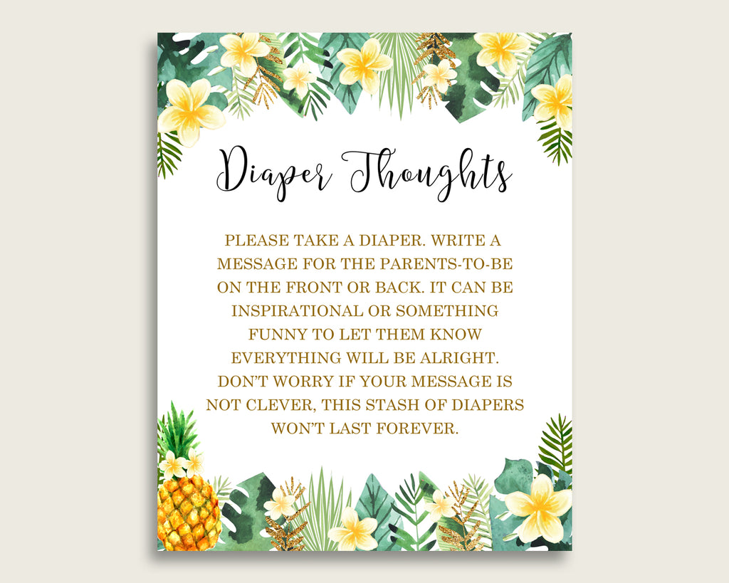 Tropical Baby Shower Diaper Thoughts Printable, Gender Neutral Green Yellow Late Night Diaper Sign, Words For Wee Hours, Write On 4N0VK