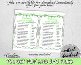 CELEBRITY BABY NAMES baby shower boy girl game with chevron green theme, digital files, Jpg Pdf, instant download - cgr01