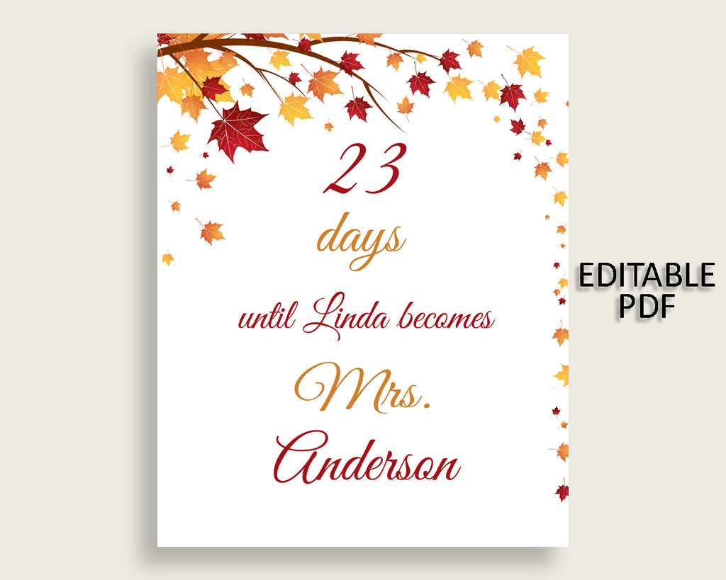 Days Until Becomes Bridal Shower Days Until Becomes Fall Bridal Shower Days Until Becomes Bridal Shower Autumn Days Until Becomes YCZ2S