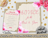 Advice For The Bride And Groom in Roses On Wood Bridal Shower Pink And Beige Theme, advice bride, elegant chic, prints, printables - B9MAI - Digital Product