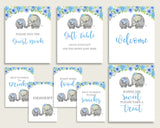 Elephant Blue Baby Shower Boy Table Signs Printable, Blue Gray Party Table Decor, Favors, Food, Drink, Treat, Guest Book, Instant ebl01