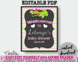 Baby Shower WELCOME sign editable with green alligator and pink color theme printable, digital files, pdf jpg, instant download - ap001