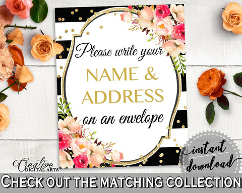 Black And Gold Flower Bouquet Black Stripes Bridal Shower Theme: Write Your Name And Address Sign - envelope card, party plan - QMK20 - Digital Product