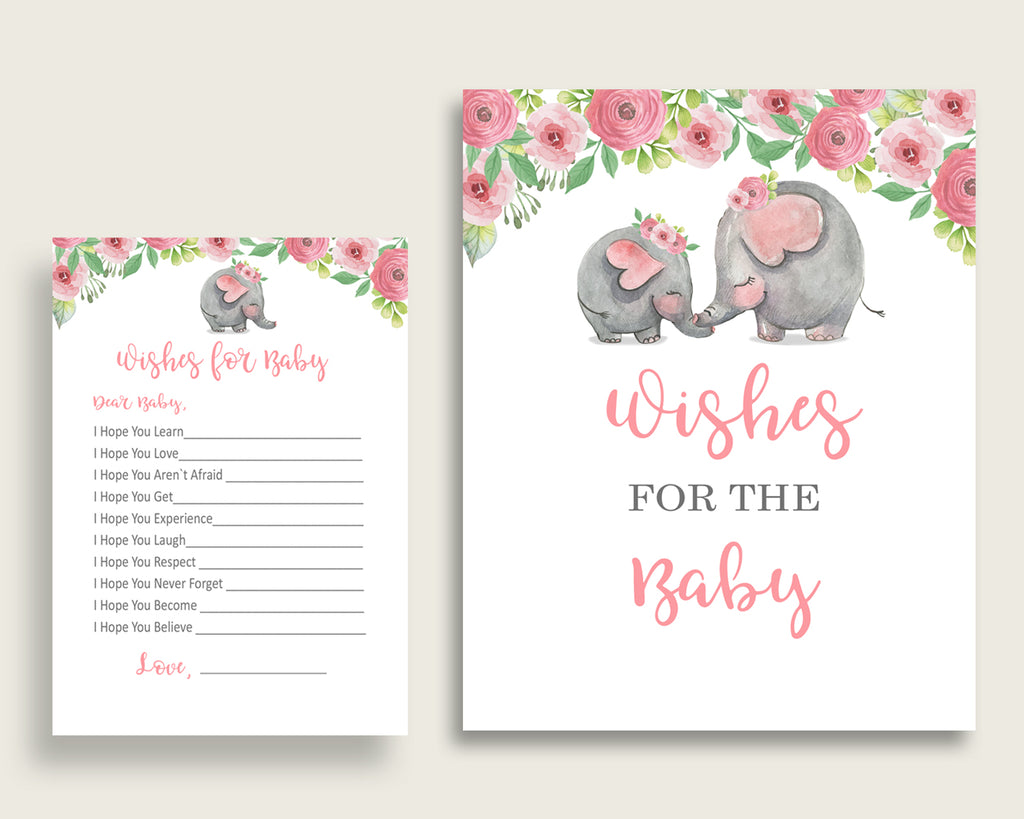 Pink Grey Wishes For Baby Cards & Sign, Pink Elephant Baby Shower Girl Well Wishes Game Printable, Instant Download, Botanical Garden ep001