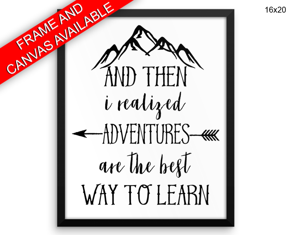 Adventures Print, Beautiful Wall Art with Frame and Canvas options available Kids Decor