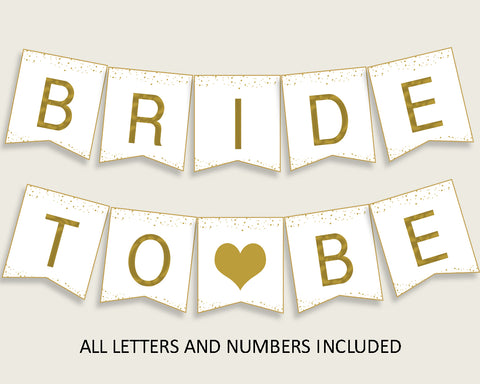 Banner Bridal Shower Banner Gold Bridal Shower Banner Bridal Shower Gold Banner Gold White party plan party supplies party theme G2ZNX