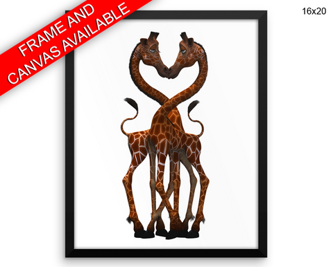 Giraffe Kissing Print, Beautiful Wall Art with Frame and Canvas options available Kids Decor