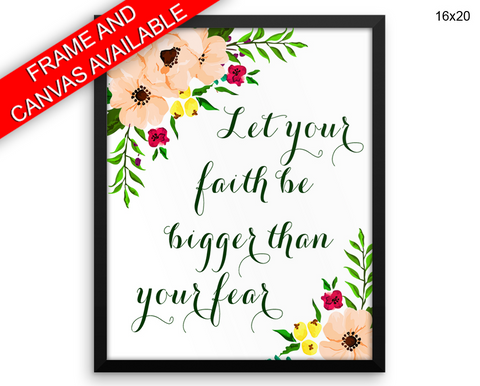 Faith Print, Beautiful Wall Art with Frame and Canvas options available Religious Decor