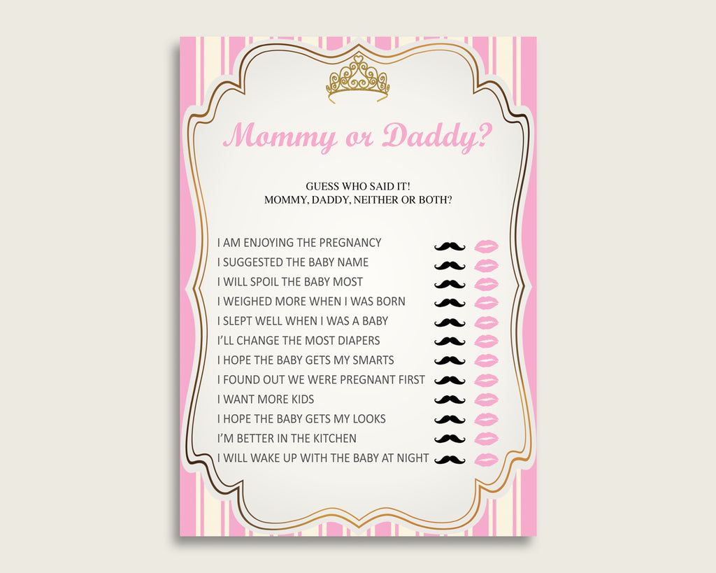 Pink Gold Mommy Or Daddy Baby Shower Girl Game Printable, Royal Princess Guess Who Said It, He Said She Said, Instant Download, rp002