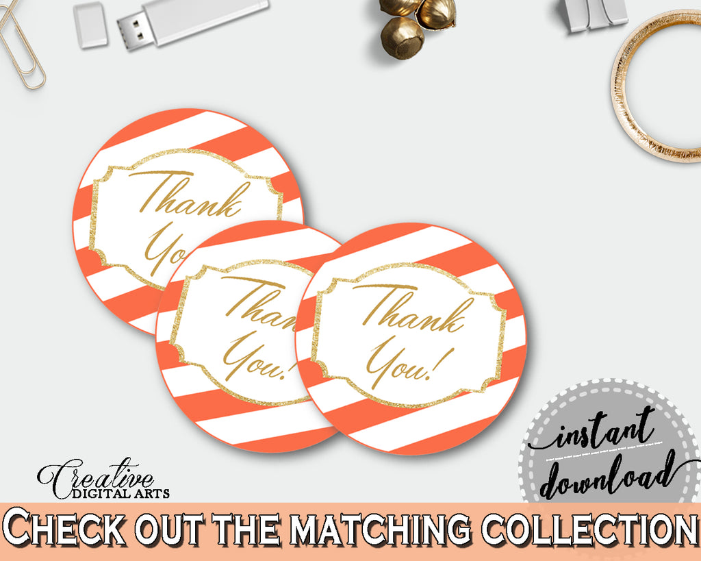 Baby shower Party THANK YOU round tag or sticker printable in orange white stripes theme, gender neutral, digital, instant download - bs003