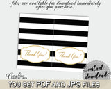 Baby shower THANK YOU card printable with black white color strips theme for girls or boys, digital jpg pdf, instant download - bs001