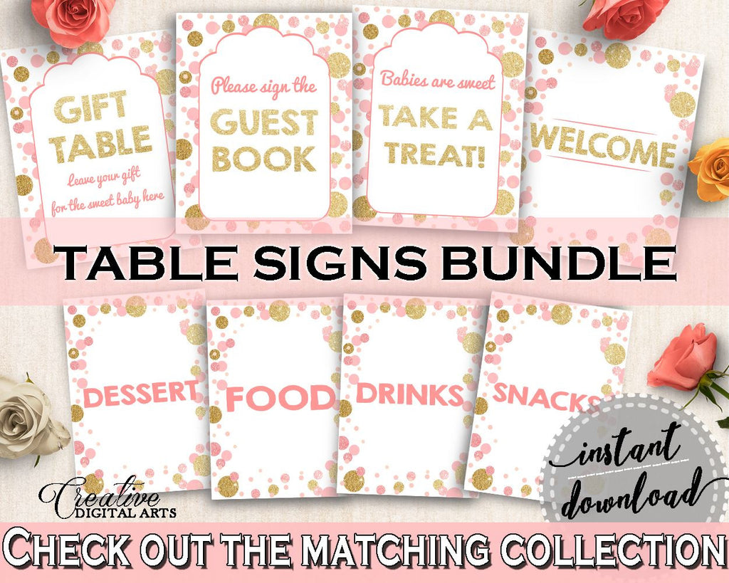 Pink Gold Table Signs Baby Shower Table Signs Dots Baby Shower
