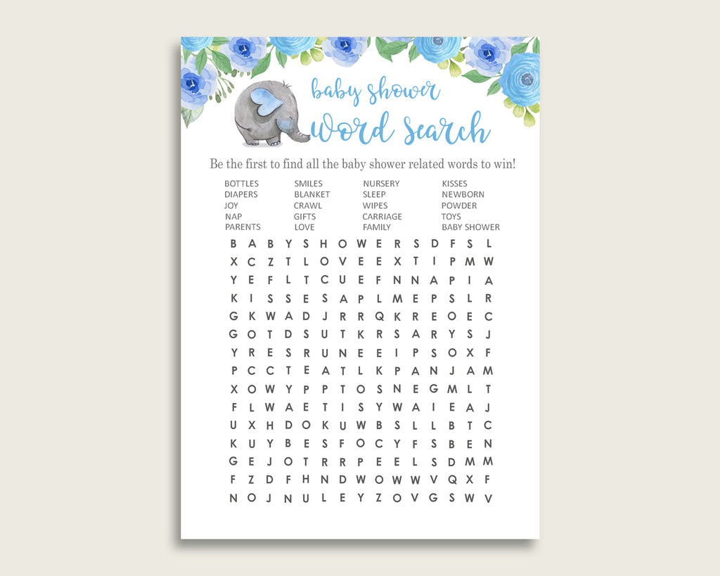 Word Search Baby Shower Word Search Elephant Blue Baby Shower Word Search Blue Grey Baby Shower Elephant Blue Word Search ebl01