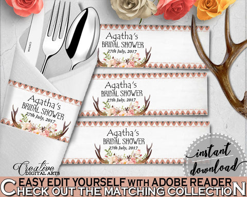 Antlers Flowers Bohemian Bridal Shower Napkin Ring Editable in Gray and Pink, utensils decorations, party décor, party ideas - MVR4R - Digital Product