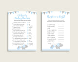 Elephant Baby Shower Games Printable Pack, Blue Grey Baby Shower Games Package Boy, Elephant Games Bundle Set, Instant Download, ebl02