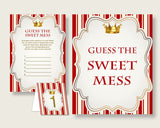 Prince Guessing Game Baby Shower Boy, Red Gold Guess The Sweet Mess Game Printable, Dirty Diaper Game, Instant Download, Little Prince 92EDX