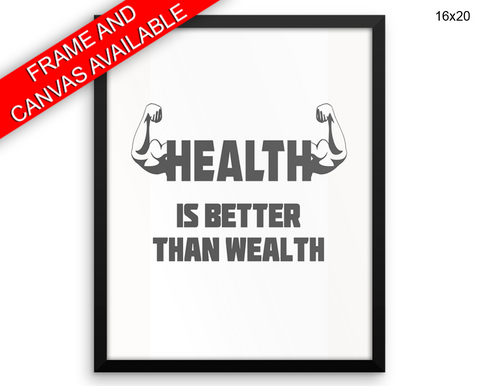 Health Print, Beautiful Wall Art with Frame and Canvas options available Gym Decor