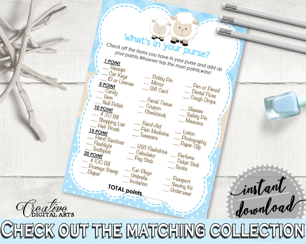 Little Lamb WHAT'S In YOUR PURSE blue baby shower boy game printable, sheep shower theme, digital files Jpg Pdf, instant download - fa001