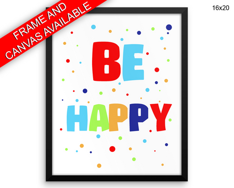 Colorful Happy Print, Beautiful Wall Art with Frame and Canvas options available Nursery Decor