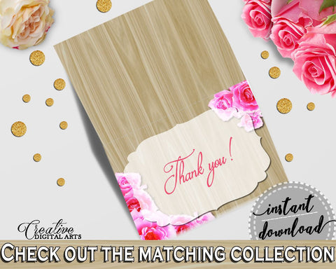 Roses On Wood Bridal Shower Thank You Card in Pink And Beige, thank you notes, vintage roses, party stuff, party decorations, prints - B9MAI - Digital Product