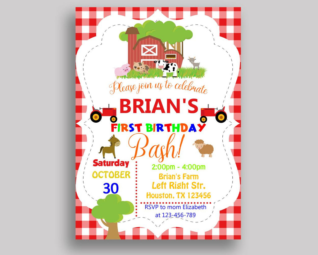 Farm Animals Birthday Invitation Farm Animals Birthday Party ...