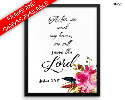 As For Me And My House Print, Beautiful Wall Art with Frame and Canvas options available Joshua