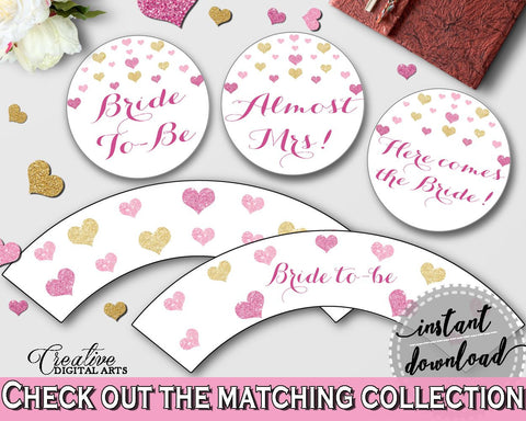 Glitter Hearts Bridal Shower Cupcake Toppers And Wrappers in Gold And Pink, cupcake supplies,  gold glitter shower, digital print - WEE0X - Digital Product