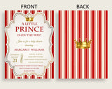 Prince Baby Shower Invitations Printable, Digital Or Printed Invitation Baby Shower Boy, Editable Invitation Red Gold Crown Most 92EDX