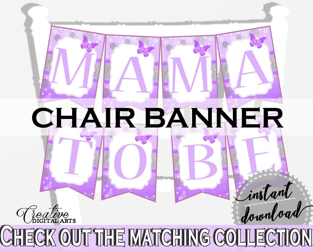 Chair Banner Baby Shower Chair Banner Butterfly Baby Shower Chair Banner Baby Shower Butterfly Chair Banner Purple Pink party stuff 7AANK - Digital Product