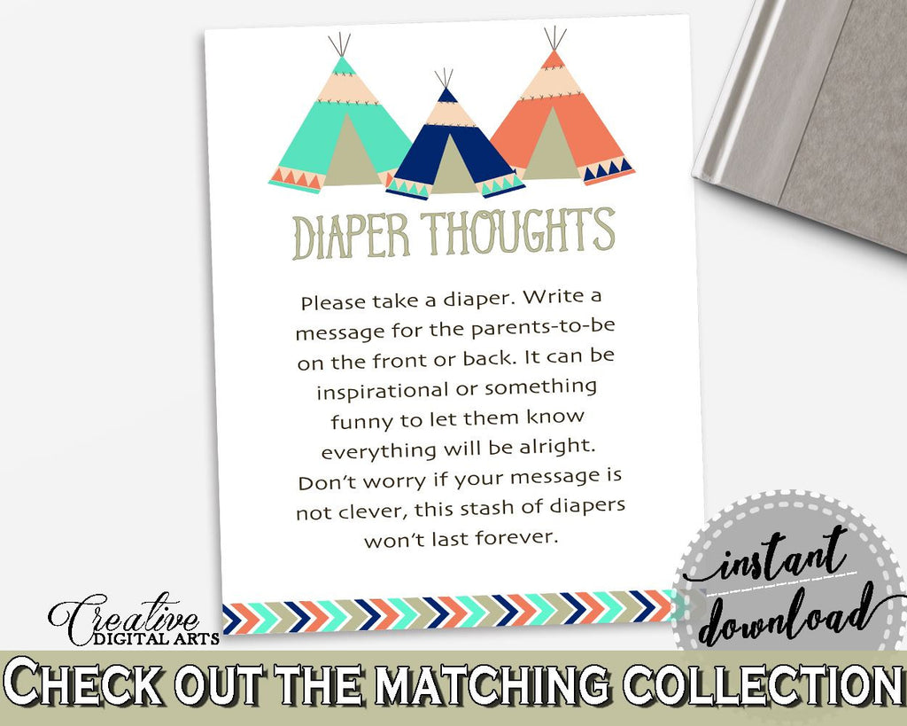Diaper Thoughts Baby Shower Diaper Thoughts Tribal Teepee Baby Shower Diaper Thoughts Baby Shower Tribal Teepee Diaper Thoughts Green KS6AW - Digital Product