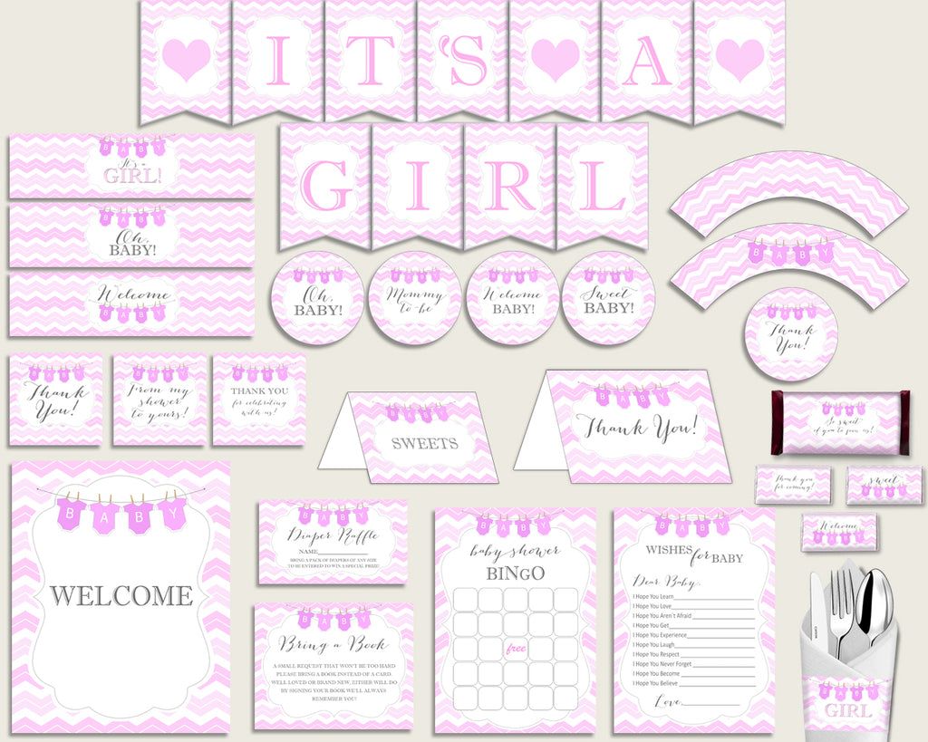 Pink White Baby Shower Decorations Girl Kit, Chevron Baby Shower Party Package Printable, Instant Download, Stripy Lines Popular cp001