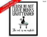 Asshole Cat Print, Beautiful Wall Art with Frame and Canvas options available Living Room Decor