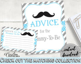 Blue Gray Advice Cards, Baby Shower Advice Cards, Mustache Baby Shower Advice Cards, Baby Shower Mustache Advice Cards party theme 9P2QW - Digital Product