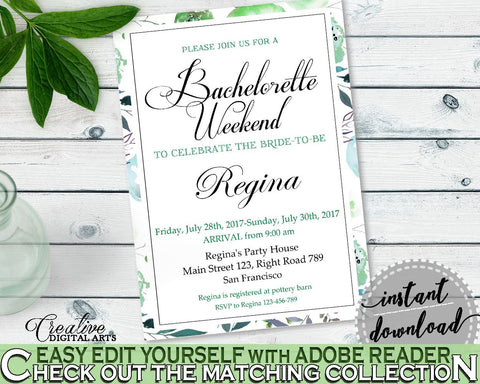 Bachelorette Weekend Invitation Bridal Shower Bachelorette Weekend Invitation Botanic Watercolor Bridal Shower Bachelorette Weekend 1LIZN - Digital Product