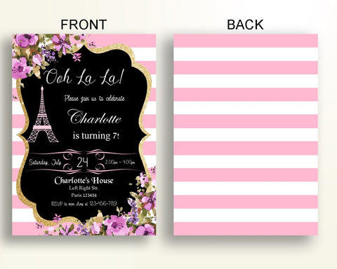 Paris Birthday Invitation Party Girl French Z3FHF