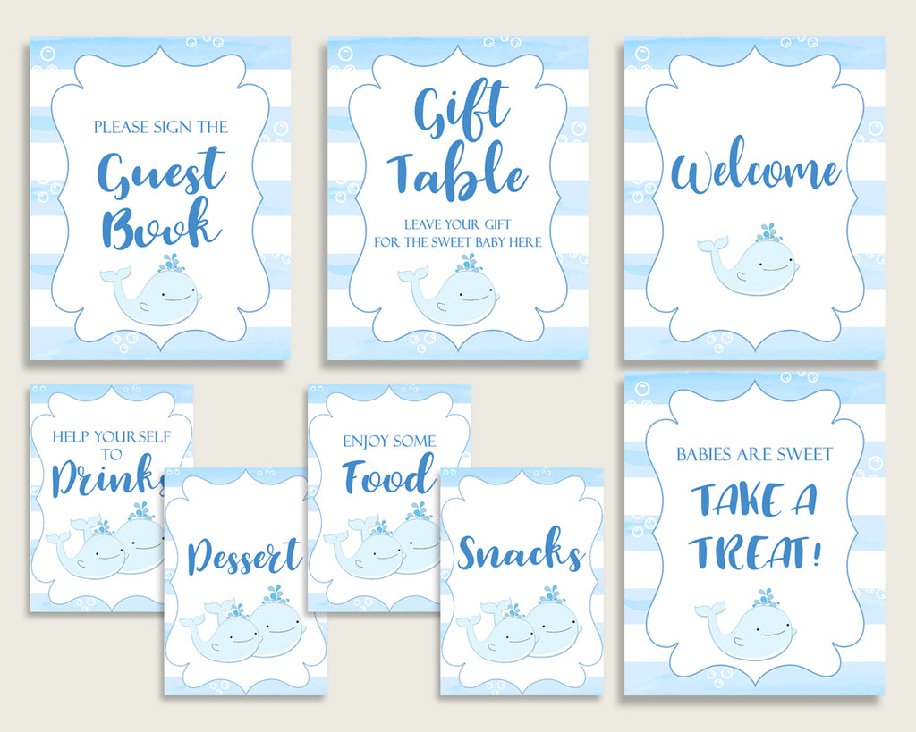 Whale Baby Shower Boy Table Signs Printable, Blue White Party Table Decor, Favors, Food, Drink, Treat, Guest Book, Instant Download, wbl01