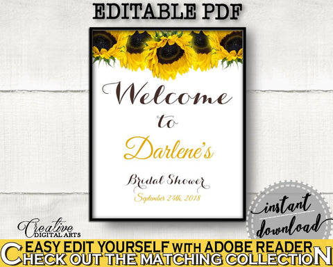 Welcome Sign Bridal Shower Welcome Sign Sunflower Bridal Shower Welcome Sign Bridal Shower Sunflower Welcome Sign Yellow White SSNP1 - Digital Product