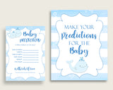 Whale Baby Shower Prediction Cards & Sign Printable, Blue White Baby Prediction Game Boy, Instant Download, Watercolor Stripes Summer wbl01
