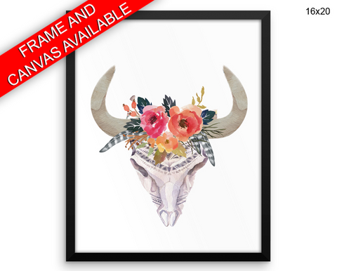 Bull Skull Print, Beautiful Wall Art with Frame and Canvas options available  Decor