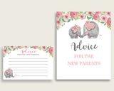 Pink Elephant Advice For Mommy To Be Cards & Sign, Printable Baby Shower Pink Grey Advice For New Parents, Instant Download, ep001