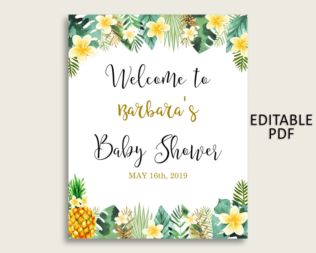 Green Yellow Tropical Baby Shower Welcome Sign Printable, Party Large Sign, Editable Welcome Sign Gender Neutral, Yard Sign, Instant 4N0VK