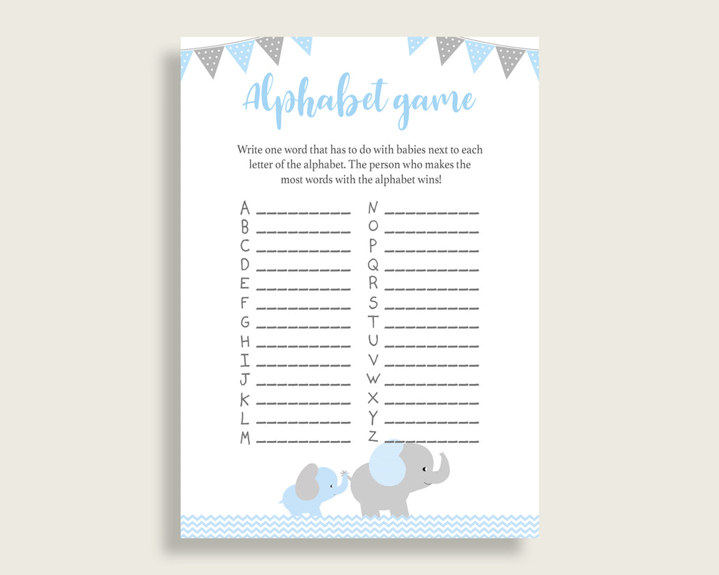 Blue Grey Alphabet Baby Shower Boy Game, Elephant A-Z Guessing Baby Game Printable, ABC's Baby Item Name Game, Instant Download, ebl02