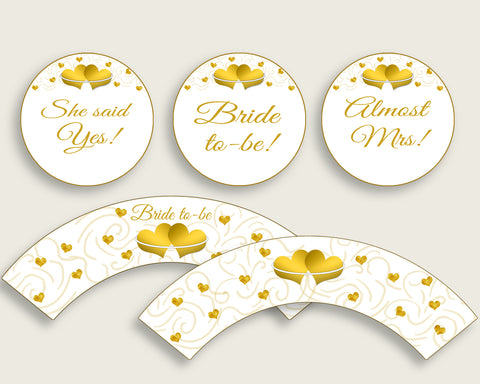 Cupcake Toppers And Wrappers Bridal Shower Cupcake Toppers And Wrappers Gold Hearts Bridal Shower Cupcake Toppers And Wrappers Bridal 6GQOT