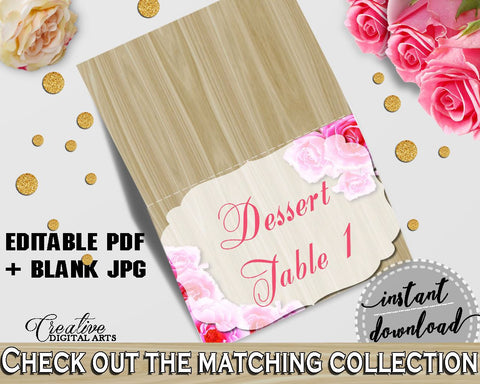 Pink And Beige Roses On Wood Bridal Shower Theme: Food Tent - editable drink signs, couple shower, party supplies, party décor - B9MAI - Digital Product