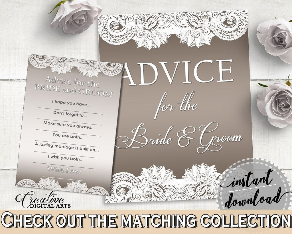 Brown And Silver Traditional Lace Bridal Shower Theme: Advice For The Bride And Groom - bridal advice cards, party organizing - Z2DRE - Digital Product